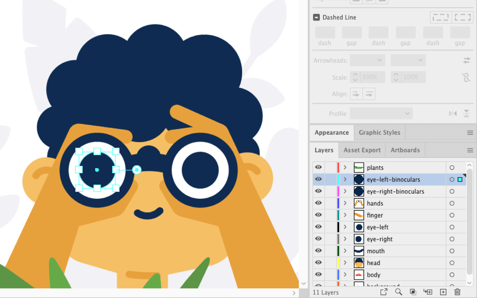 Layer panel in Adobe Illustrator