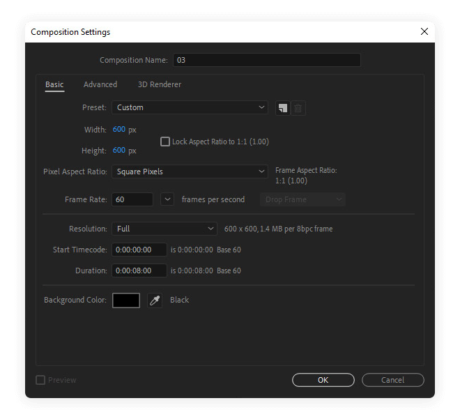 Composition settings dialog